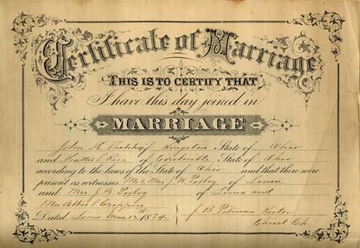 Marriage certificate ohio